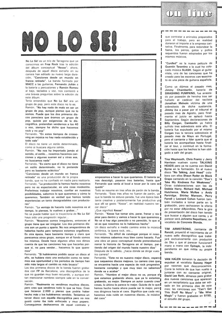 No lo sé – Prensa 1996